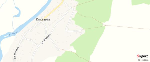 Солнечная улица на карте деревни Костыли с номерами домов
