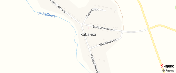 Береговая улица на карте села Кабанки с номерами домов