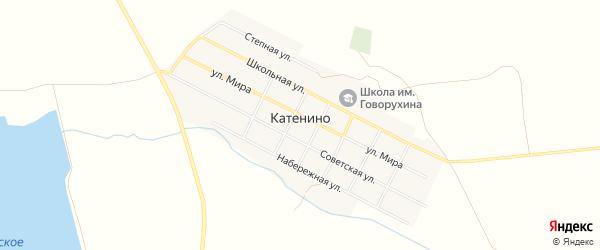 Карта села Катенино в Челябинской области с улицами и номерами домов