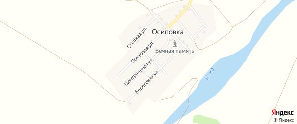 Центральная улица на карте поселка Осиповки с номерами домов
