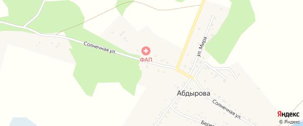 Солнечная улица на карте деревни Абдырова с номерами домов