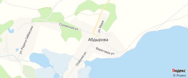 Карта деревни Абдырова в Челябинской области с улицами и номерами домов