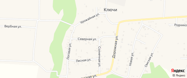 Северная улица на карте деревни Ключи с номерами домов