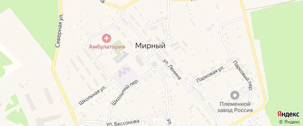 Школьный переулок на карте Мирного поселка с номерами домов