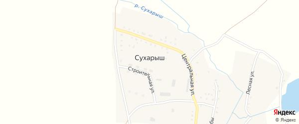 Строительная улица на карте поселка Сухарыша с номерами домов