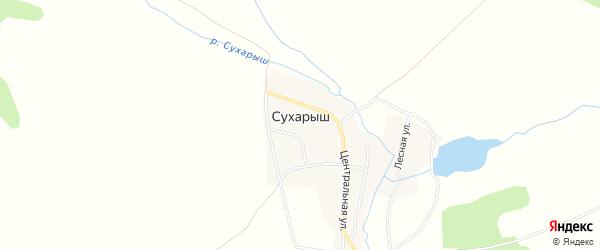 Карта поселка Сухарыша в Челябинской области с улицами и номерами домов
