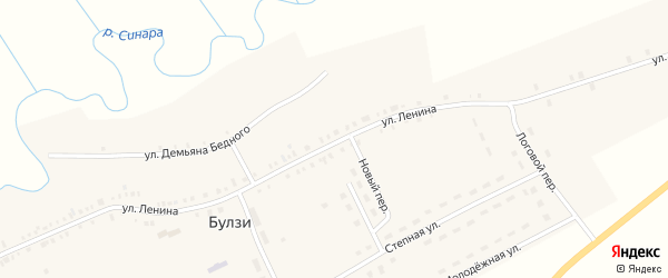 Береговая улица на карте села Булзи с номерами домов
