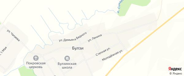 Карта села Булзи в Челябинской области с улицами и номерами домов
