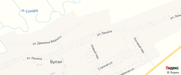 Улица Ленина на карте села Булзи с номерами домов