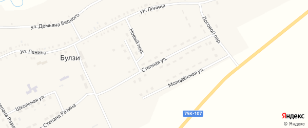 Степная улица на карте села Булзи с номерами домов