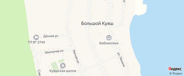 Зеленая улица на карте села Большого Куяша с номерами домов