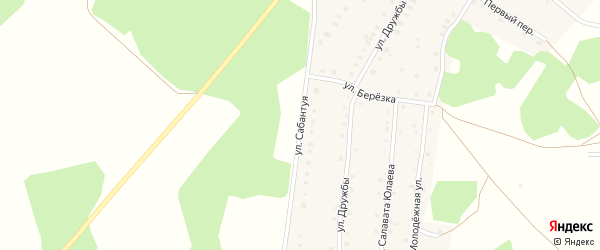 Улица Сабантуя на карте деревни Дербишева с номерами домов