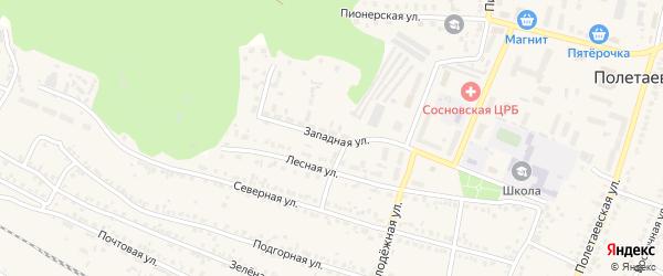 Западная улица на карте поселка Полетаево с номерами домов