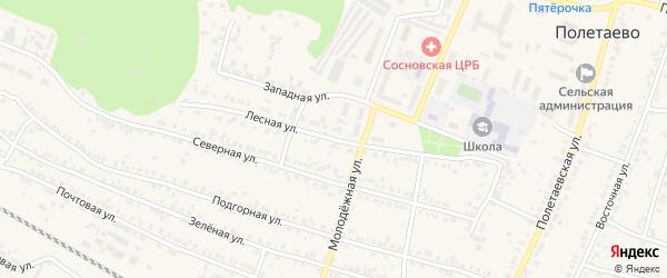 Лесная улица на карте поселка Полетаево с номерами домов
