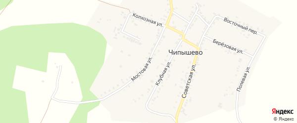 Мостовая улица на карте села Чипышево с номерами домов