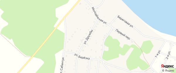 Улица Дружбы на карте деревни Дербишева с номерами домов