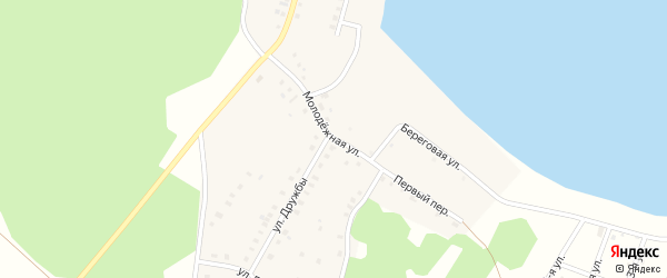 Молодежная улица на карте деревни Дербишева с номерами домов