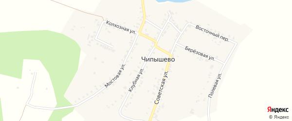 Клубная улица на карте села Чипышево с номерами домов
