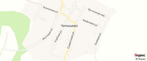 Советская улица на карте села Чипышево с номерами домов