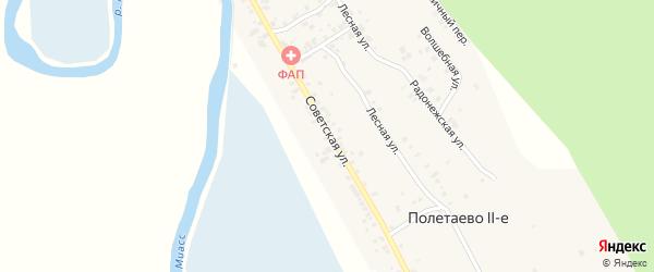 Советская улица на карте железнодорожного разъезда Полетаево 2-е с номерами домов
