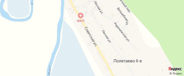 Советская улица на карте деревни Полетаево 2-е с номерами домов
