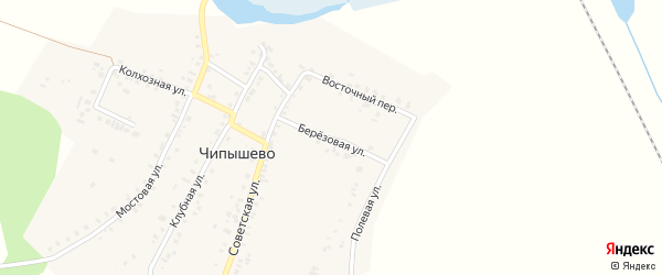 Березовая улица на карте села Чипышево с номерами домов