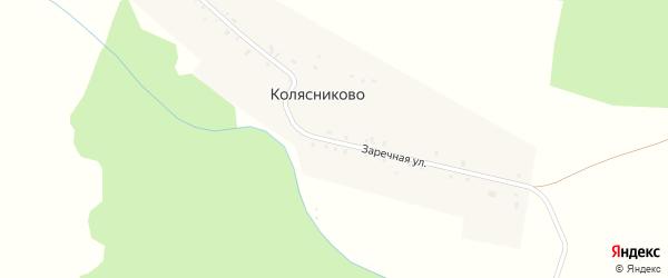 Заречная улица на карте деревни Колясниково с номерами домов