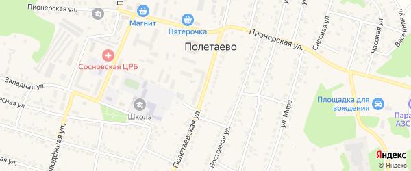Полетаевская улица на карте поселка Полетаево с номерами домов