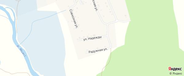 Улица Надежды на карте деревни Полетаево 2-е с номерами домов