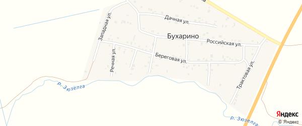 Береговой 1-й переулок на карте деревни Бухарино с номерами домов