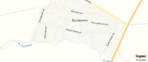 Береговая улица на карте деревни Бухарино с номерами домов