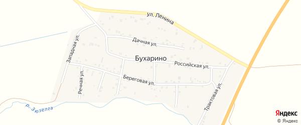 Речная улица на карте деревни Бухарино с номерами домов