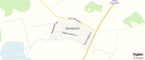 Карта деревни Бухарино в Челябинской области с улицами и номерами домов