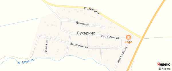 Трактовая улица на карте деревни Бухарино с номерами домов