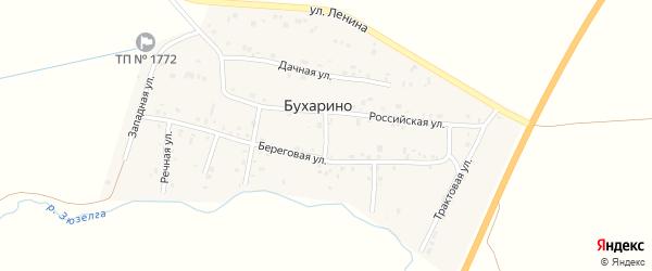 Береговой 2-й переулок на карте деревни Бухарино с номерами домов