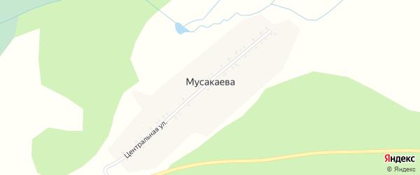 Центральная улица на карте деревни Мусакаева с номерами домов