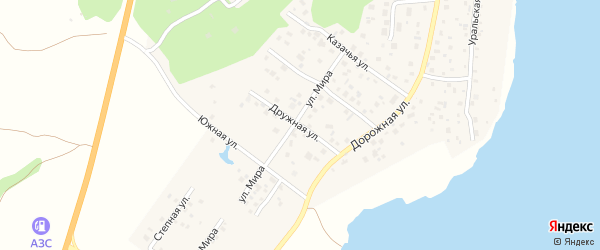 Дружная улица на карте села Кременкуль с номерами домов