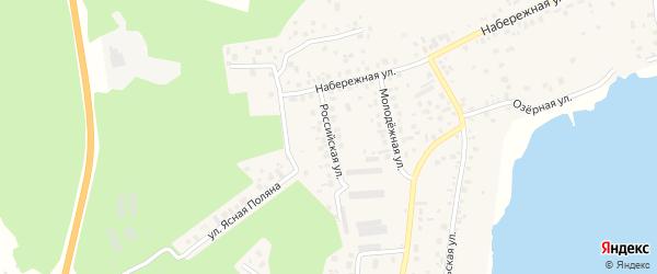 Российская улица на карте села Кременкуль с номерами домов