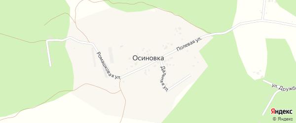 Полевая улица на карте деревни Осиновки с номерами домов