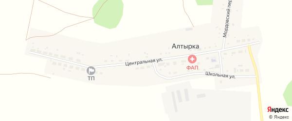 Центральная улица на карте поселка Алтырки с номерами домов