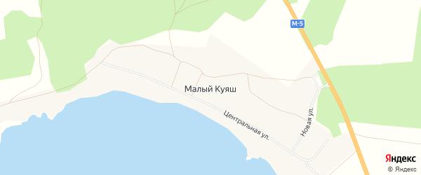 Карта деревни Малого Куяша в Челябинской области с улицами и номерами домов