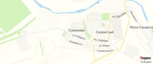 Карта поселка Снежково в Челябинской области с улицами и номерами домов