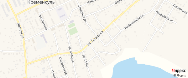 Улица Гагарина на карте села Кременкуль с номерами домов