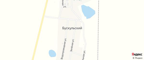 Зеленая улица на карте Бускульского поселка с номерами домов