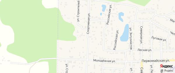 Спортивная улица на карте Первомайского поселка с номерами домов