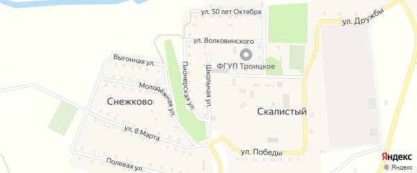 Школьная улица на карте Скалистого поселка с номерами домов