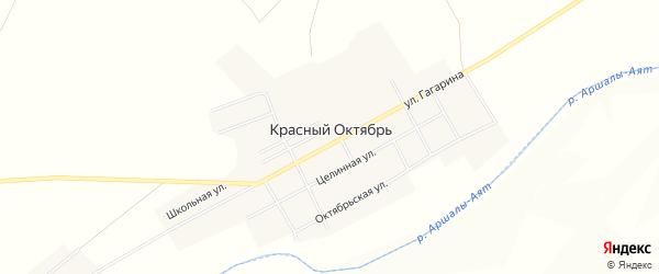 Карта поселка Красного Октября в Челябинской области с улицами и номерами домов