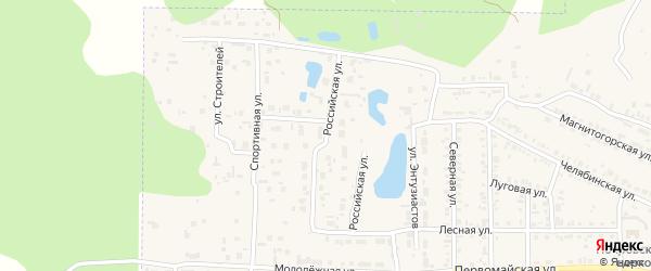 Российская улица на карте Первомайского поселка с номерами домов