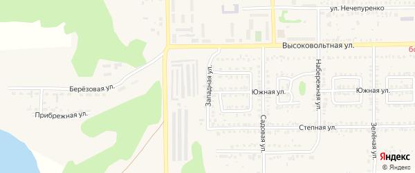 Западная улица на карте Первомайского поселка с номерами домов