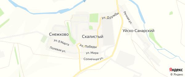 Карта Скалистого поселка в Челябинской области с улицами и номерами домов